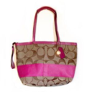 Coach Pink and Tan Logo Shoulder Bag EUC